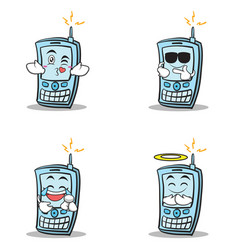 Collection of phone character cartoon style set vector