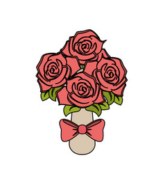 Color image wedding bouquet of pink roses vector