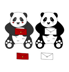 cute panda with red letter vector image