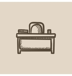 Desk and chair sketch icon vector image