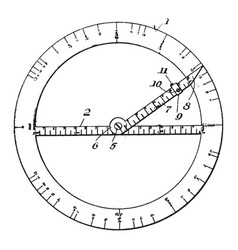 drafting protractor right and to left from vector image