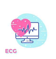 Ecg heart diagnostics medical icon vector
