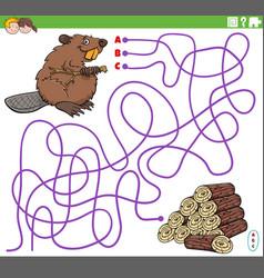 Educational maze game with cartoon beaver vector
