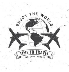 Enjoy world time to travel badge logo travel vector