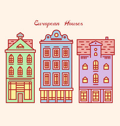 Europe house or apartments cute architecture vector