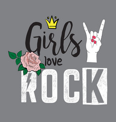 Fashion trendy lettering girls love rock vector