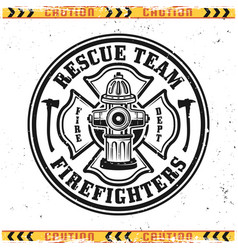 Firefighters round emblem with fire hydrant vector