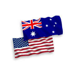 Flags of australia and america on a white vector