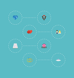 Flat icons couple brilliant engagement and other vector