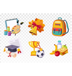 Flat set of icons related to school theme vector