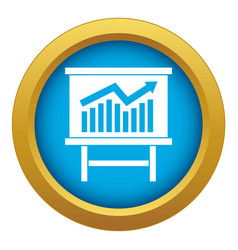 Growing chart presentation icon blue vector