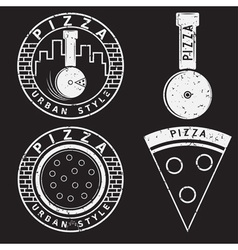 Grunge urban style pizza labels and elements set vector