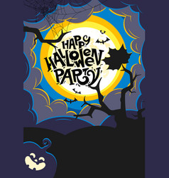halloween party template with calligraphic vector image