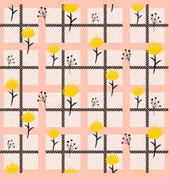 hand drawn flower seamless pattern in rosy vector image