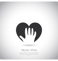 Hand holding heart symbol sign icon logo vector