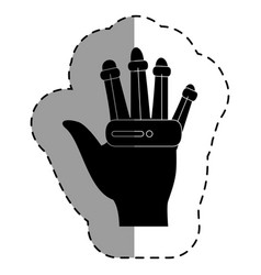 Hand human with virtual reality device vector