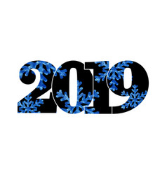 happy new year card black number 2019 with blue vector image