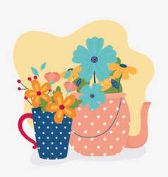 Hello spring teapot and vase with flowers nature vector