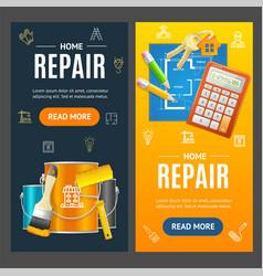 Home repair service banner vecrtical set vector