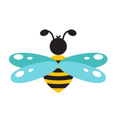 Honeybee cartoon icon isolated vector