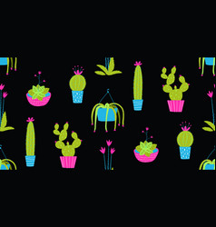 indoor cactus in pots hand drawn seamless pattern vector image