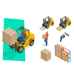 Isometric forklift truck isolated on white vector
