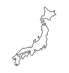 japan map of black contour curves of vector image