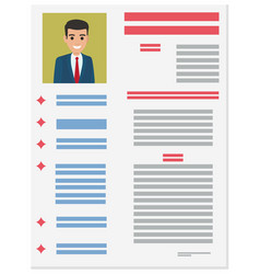 job application form of businessman brief resume vector image