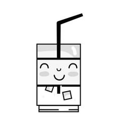 Line kawaii cute happy drink beverage vector