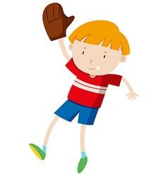 Little boy with baseball glove vector