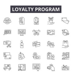 Loyalty program line icons signs set vector