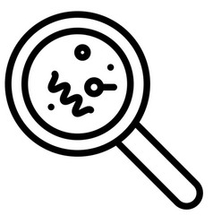 Magnify glass with bacteria line style icon vector