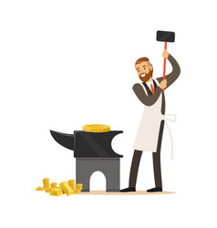 Man in a business suit and white apron forging vector