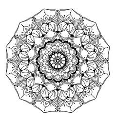 mandala line art adult coloring page vector image