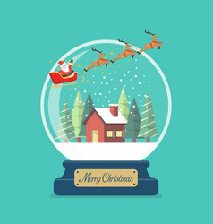 merry christmas glass ball with santa sleigh and vector image