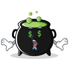 Money eye magic cauldron character cartoon vector
