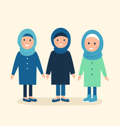 Muslim girls or women wearing hijabs vector
