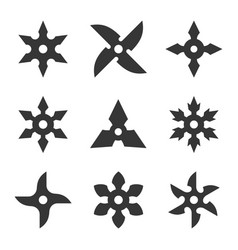 Ninja star icon set vector