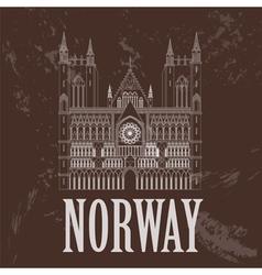 Norway landmarks Retro styled image vector image
