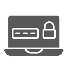 password on laptop glyph icon device and safety vector image