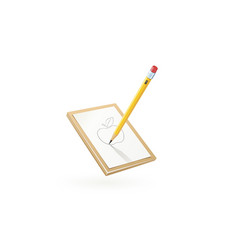 Pencil draw apple at white vector