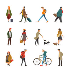 People daily outdoor life in casual clothes vector