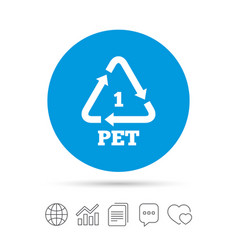 Pet 1 icon polyethylene terephthalate vector