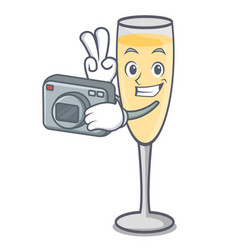 Photographer champagne mascot cartoon style vector