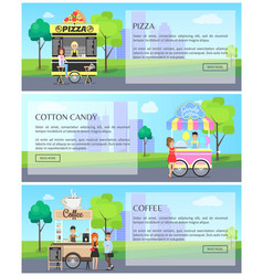 Pizza and coffee web pages vector