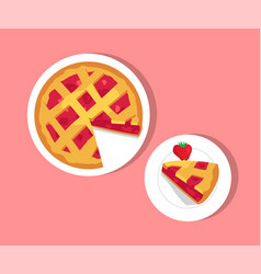 plates with strawberry pie vector image