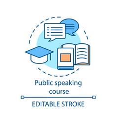 Public speaking course concept icon vector