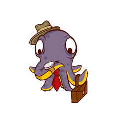 purple octopus businessman with suitcase watching vector image
