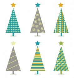 retro Christmas trees icon set vector image