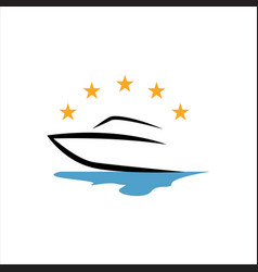 sailing yacht ship boat logo design on water vector image